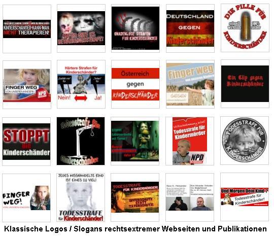 Klassische Logos und Slogans rechtsextremer Propagandaseiten